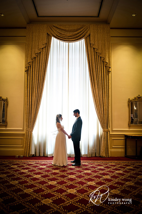bride and groom meeting for the first time at the palace hotel san francisco