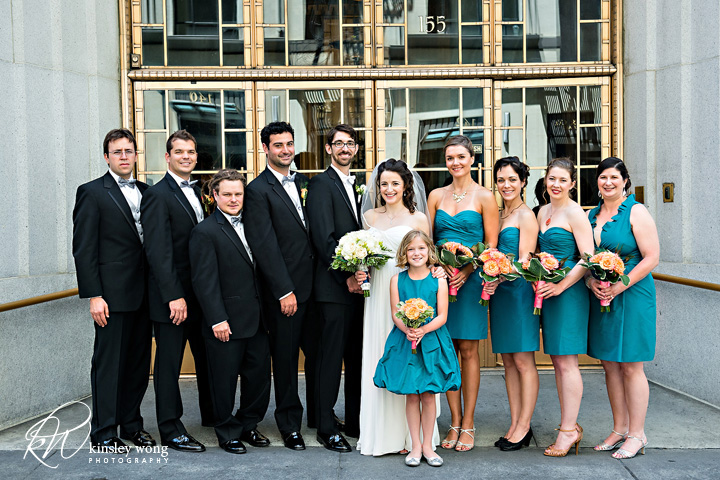 bridal party in front of the city club san francisco