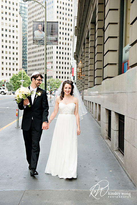 bride and groom on the runway at the city club san francisco