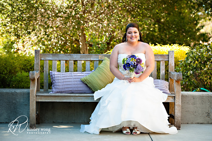 dunsmuir house bride sitting on a bench
