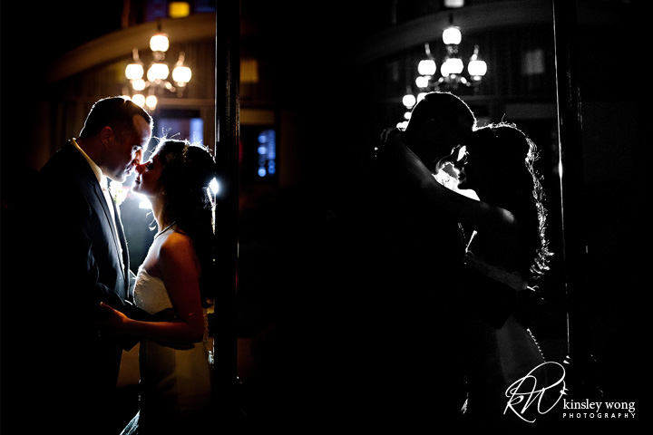 fairmont hotel wedding rooftop wedding night time portraits