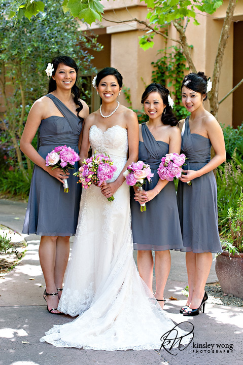bridesmaid in front of fairmont hotel sonoma