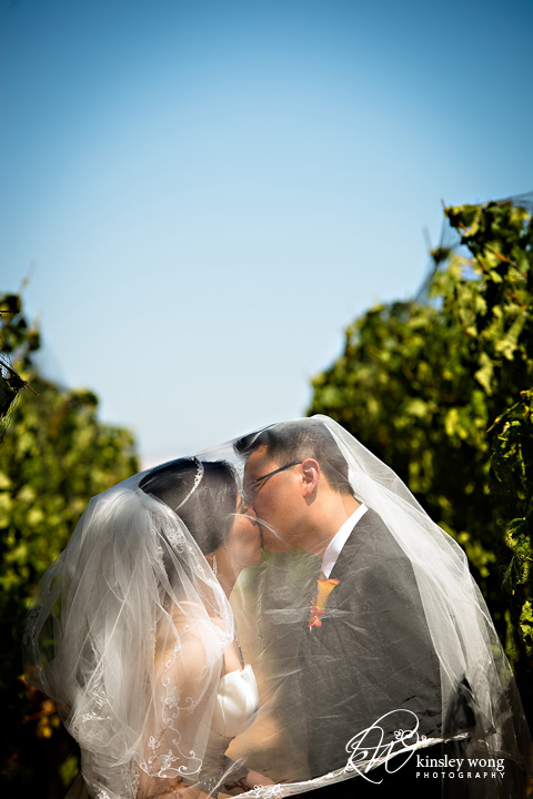 bride and groom kissing at immanuel lutheran chuch saratoga