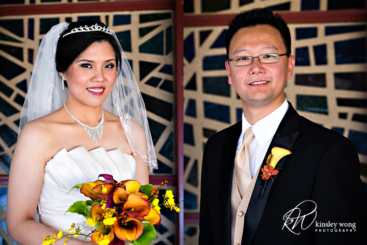 bride and groom at immanuel lutheran chuch saratoga
