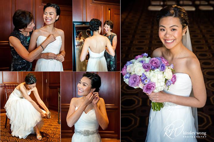 bride getting ready at the julia morgan ballroom