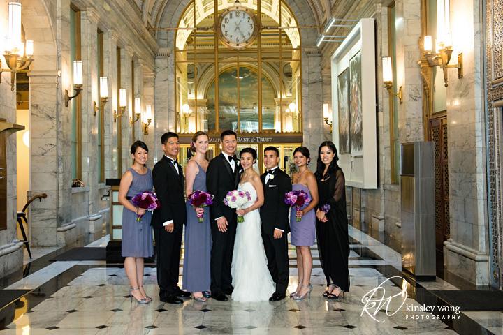 bridal party photos in the lobby at julia morgan ballroom