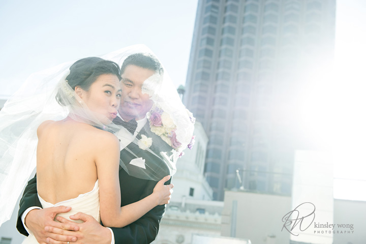 bride and groom rooftop wedding portraits in San Francisco