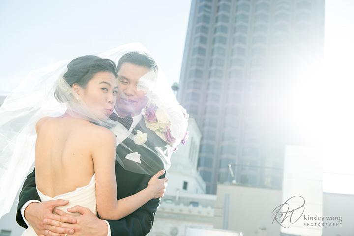 bride and groom rooftop wedding portraits in San Francisco