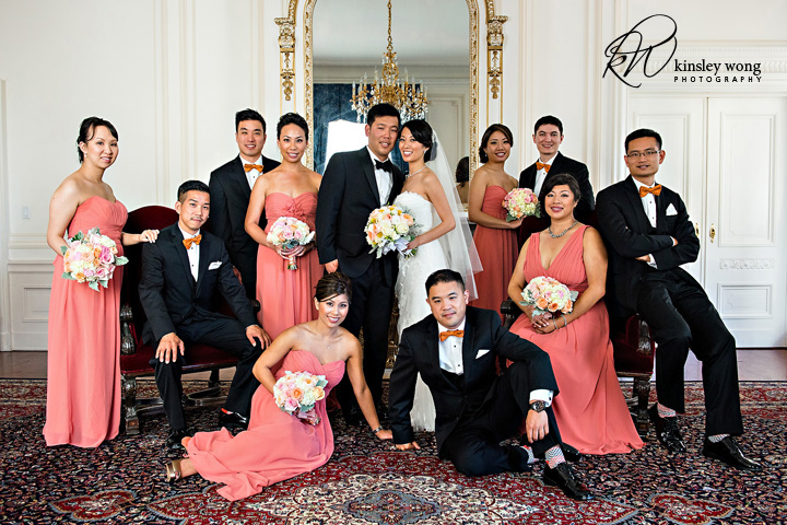 bridal party group shot inside the palace hotel