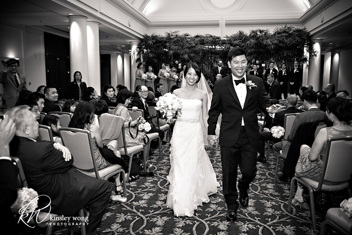 bride and groom married at the palace hotel