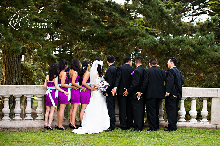 bridal party checking out the view