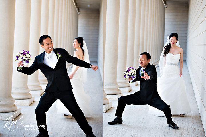 groom doing kung fu moves