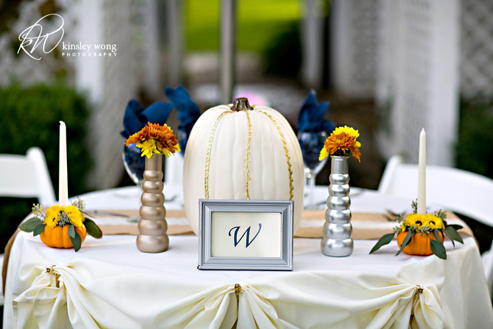 Bride and groom sweetheart table at palmdale estates