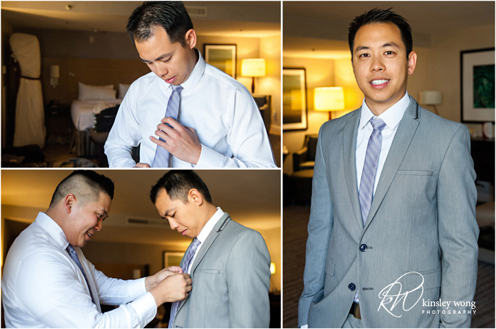 Groom getting ready at Redondo Beach Historical Library