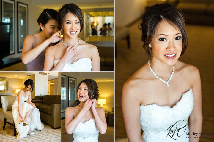 Bride getting ready at Redondo Beach Historical Library
