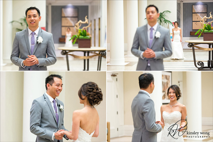 Bride and Groom first look at Redondo Beach Historical Library