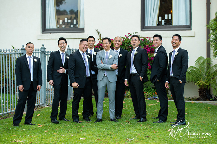 Groom and groomsmen at Redondo Beach Historical Library