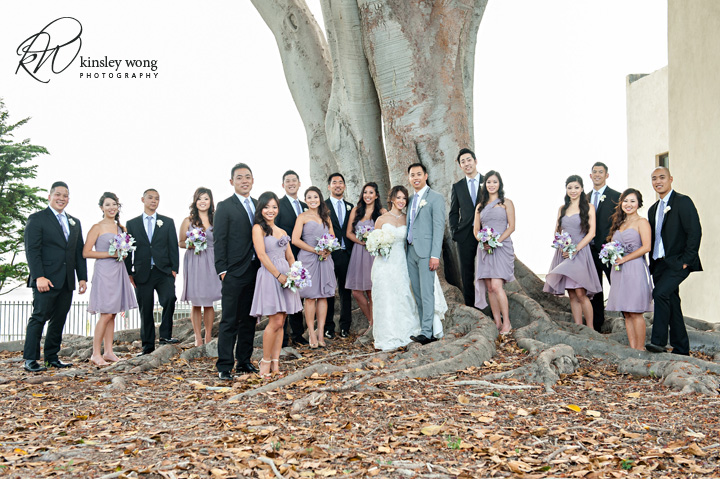 Bridal party photos at Redondo Beach Historical Library