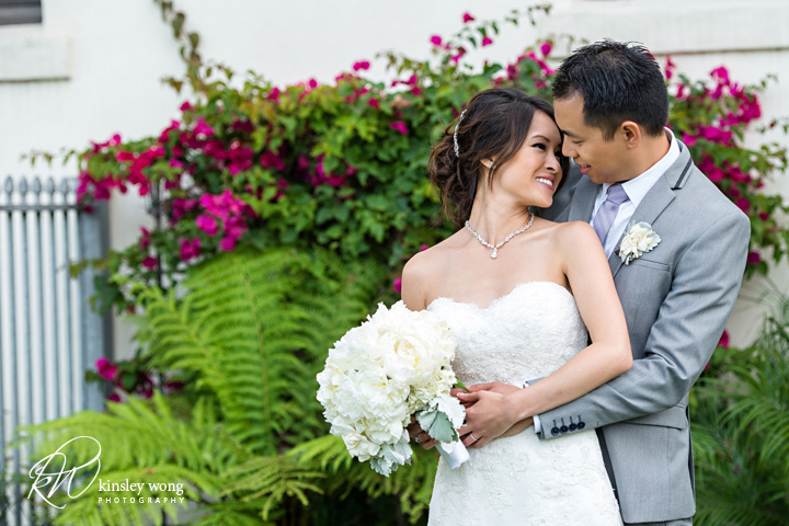 A bride and groom moment at Redondo Beach Historical Library