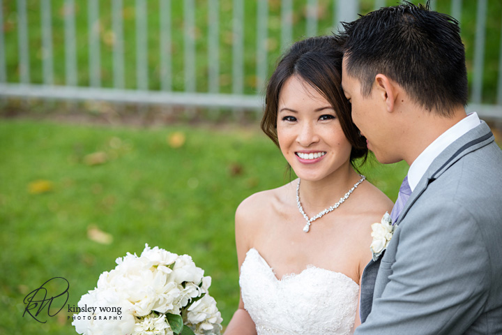 Bride smiling at Redondo Beach Historical Library