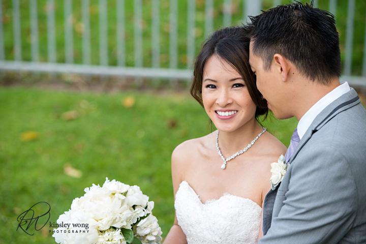 Bride smiling at Redondo Beach Historical Library