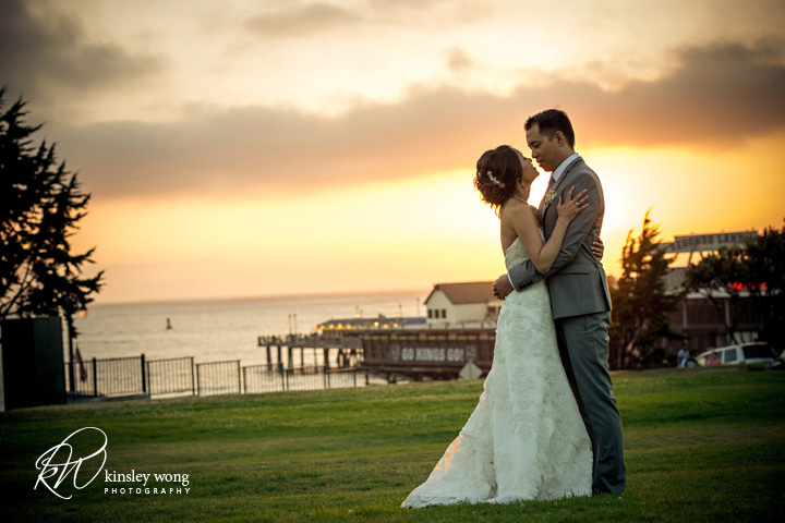 Bride and groom sunset photos at Redondo Beach Historical Library
