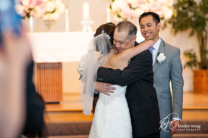 Father hugs bride at Riviera United Methodist Church in Redondo Beach