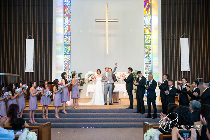 Bride and groom are married at Riviera United Methodist Church in Redondo Beach