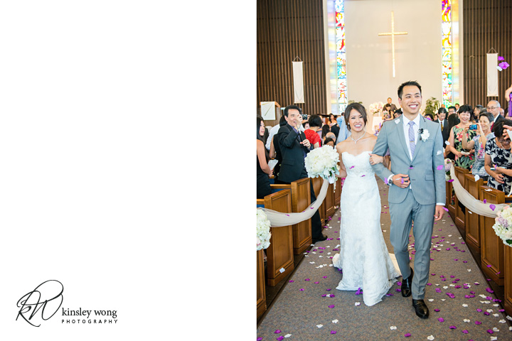 Bride and groom walks down the isle at Riviera United Methodist Church in Redondo Beach