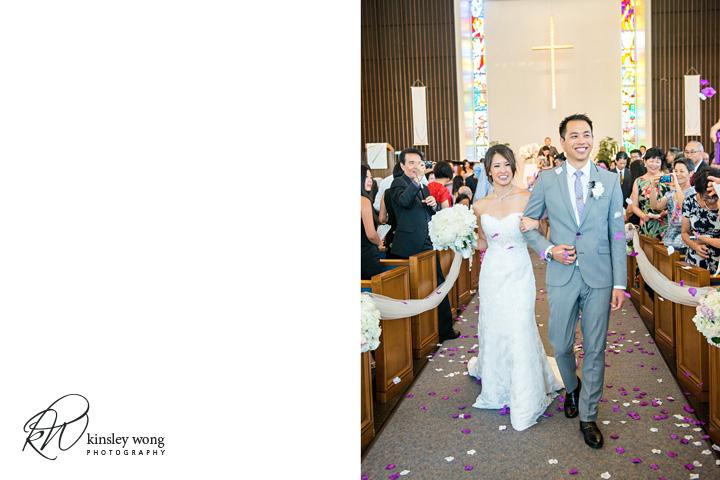 Bride and groom walks down the isle at Riviera United Methodist Church in Redondo Beach