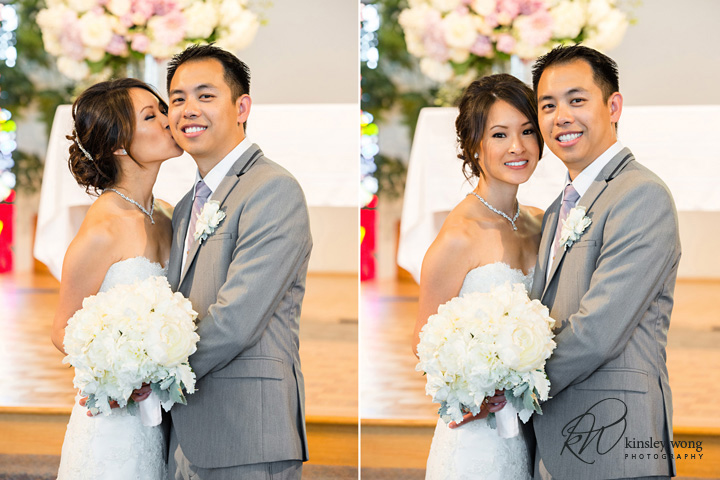 Funny moments between bride and groom at Riviera United Methodist Church in Redondo Beach