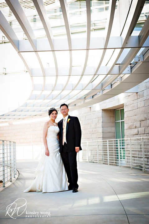 bride and groom at san jose city hall rotunda wedding
