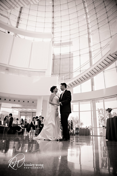 bride and groom first dance at san jose city hall rotunda wedding