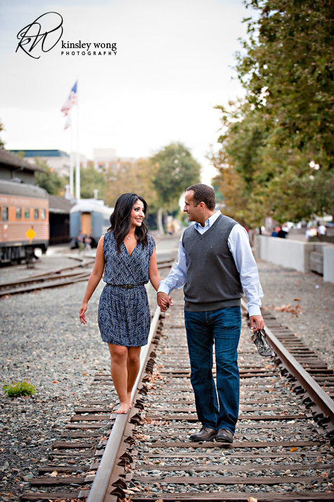 Walking on railroad tracks at Old town Sacramento