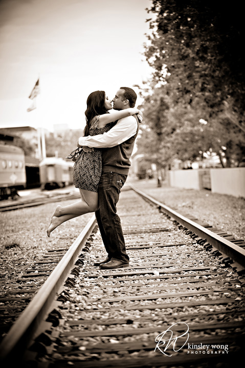 Kissing on railroad tracks at Old town Sacramento