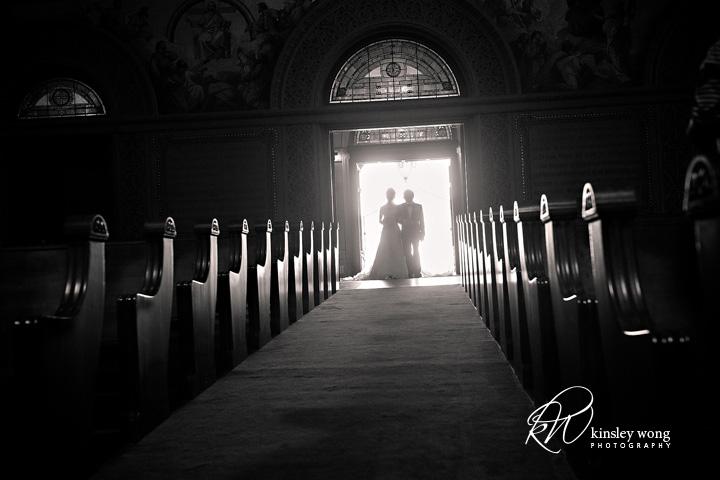 stanford memorial church bride entering the church