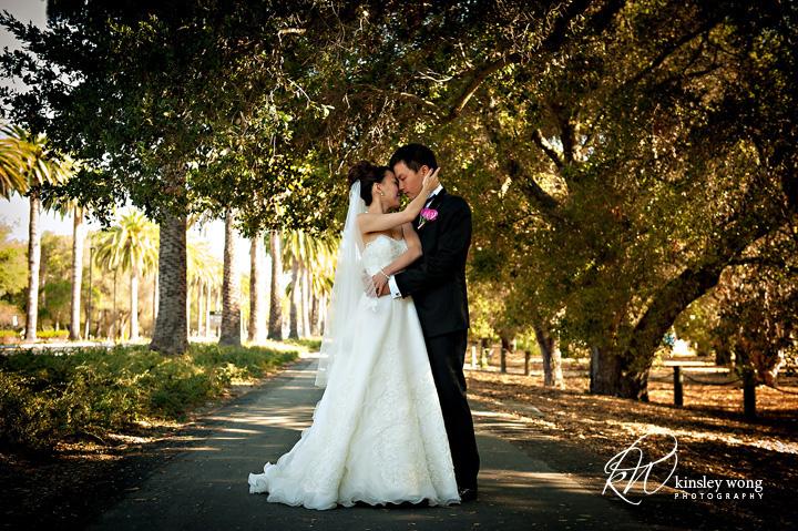 stanford memorial church bride and groom hugging